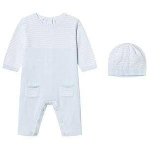 Emile et Rose Boys All in ones Blue Leo One-Piece Knit and Beanie Set in Blue and White