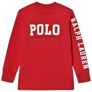 Image of Ralph Lauren Boys Tops Red Slub Cotton Jersey Graphic Tee Red