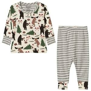 Hatley Boys Nightwear Cream Cream Lumberjack Animal Pyjamas
