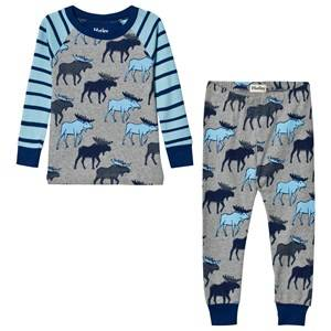 Hatley Boys Nightwear Blue Moose Print Raglan Pyjamas