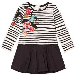 Image of Catimini Girls Dresses White Striped Floral Jersey Dress