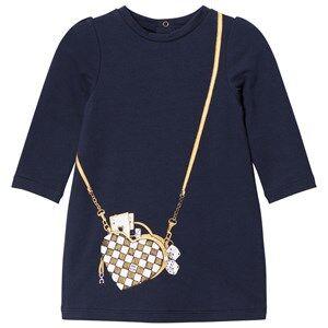 Little Marc Jacobs Girls Dresses Navy Navy Bag Jersey Long-Sleeve Dress