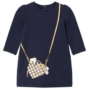 Image of Little Marc Jacobs Girls Dresses Navy Navy Bag Jersey Long-Sleeve Dress