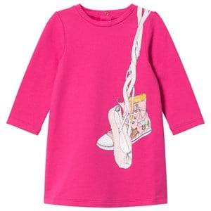 Image of Little Marc Jacobs Girls Dresses Pink Pink Shoes Jersey Long-Sleeve Dress