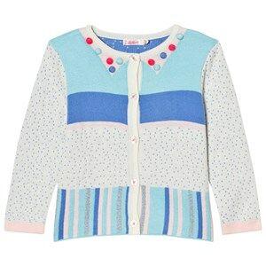 Image of Billieblush Girls Jumpers and knitwear Multi Multi Patterned Knit Pom Pom Cardigan