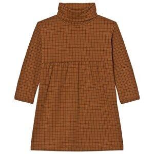 Tinycottons Girls Dresses Brown Grid Turtle Neck Dress Brown / Black