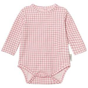 Tinycottons Unisex All in ones Pink Grid Long Sleeve Baby Body Pale Pink/Red