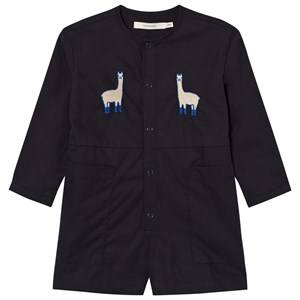 Image of Tinycottons Girls All in ones Blue Llamas Oversized Woven Romper Dark Navy