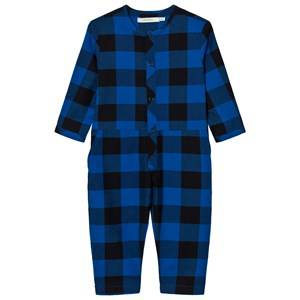 Image of Tinycottons Unisex All in ones Blue Check Woven Jumpsuit Dark Navy/Blue