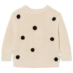 Image of Tinycottons Unisex Jumpers and knitwear Beige Pom Poms Oversized Sweater Beige/Black
