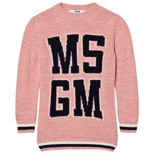 MSGM Girls Dresses Pink Pink Logo Knit Dress