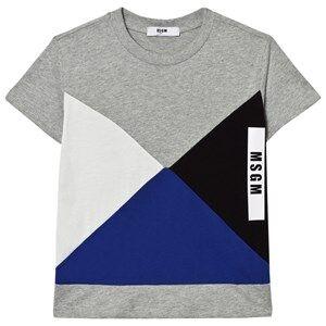 MSGM Boys Tops Grey Grey Geometric Logo Tee