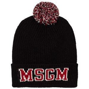 MSGM Boys Headwear Black Black Red Pom Pom Beanie