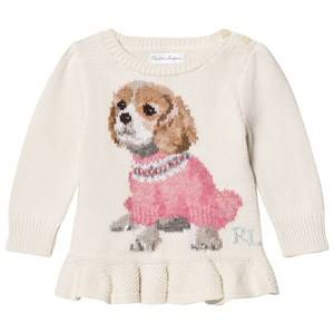Ralph Lauren Girls Jumpers and knitwear White Puppy Peplum Infant Sweater