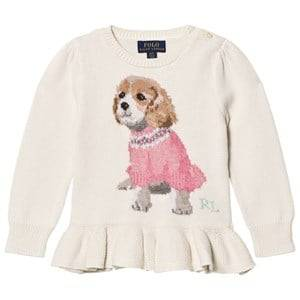 Ralph Lauren Girls Jumpers and knitwear White Puppy Peplum Kids Sweater