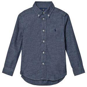 Ralph Lauren Boys Tops Blue Dark Blue Chambray Shirt