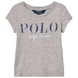Ralph Lauren Girls Tops Grey Short Sleeve Floral Applique Tee Grey