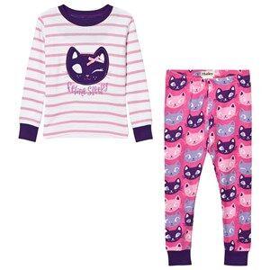 Hatley Girls Nightwear Cream Cream and Pink Stripe Cat Pyjamas