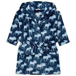 Hatley Boys Nightwear Blue Unisex Moose Print Bathrobe
