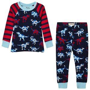 Hatley Boys Nightwear Blue Red and Navy Raglan Dino Print Pyjamas