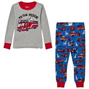 Hatley Boys Nightwear Grey Grey Fire Truck Applique and PrinGrey Fire Truck Applique and Printed Pyjamasted Bottom Pyjamas