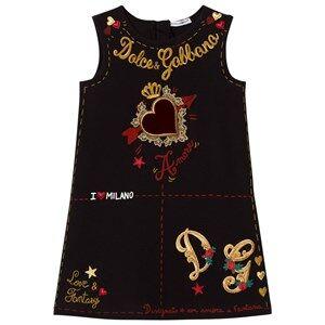 Image of Dolce & Gabbana Girls Dresses Black Black Heart Print Embroidered Sleeveless Dress