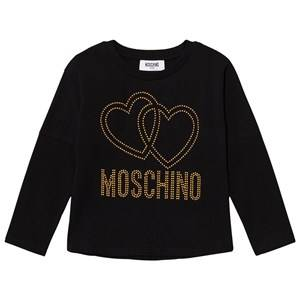 Moschino Kid-Teen Girls Tops Black Black Studded Logo Tee