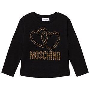 Moschino Kid-Teen Girls Tops Black Black Studded Logo Tee