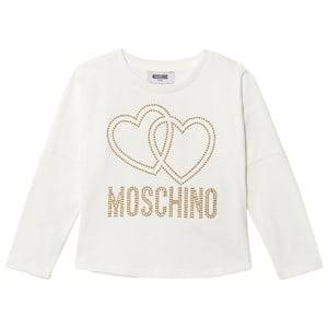 Moschino Kid-Teen Girls Tops Cream Cream Studded Logo Tee