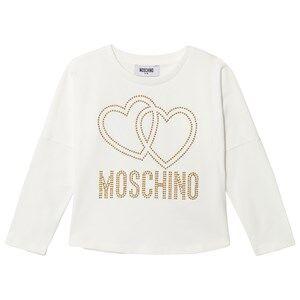 Moschino Kid-Teen Girls Tops Cream Cream Studded Logo Tee