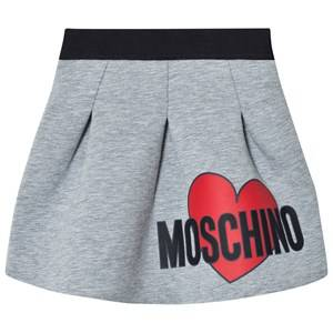 Moschino Kid-Teen Girls Skirts Grey Grey Heart Print Neoprene Skirt