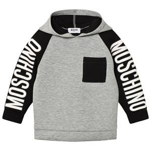 Moschino Kid-Teen Boys Jumpers and knitwear Grey Grey/Black Branded Sleeve Neoprene Hoodie