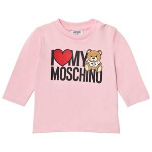 Moschino Kid-Teen Girls Tops Pink Heart Branded Bear Long Sleeve Tee Pink