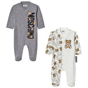 Moschino Kid-Teen Unisex All in ones Grey 2-Pack Footed Baby Body All Over Bear Grey Gift Box Set