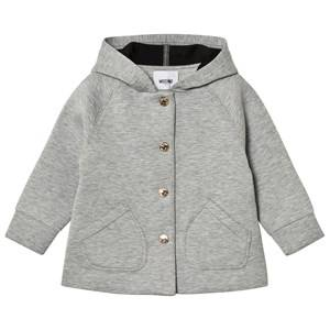 Moschino Kid-Teen Girls Coats and jackets Grey Grey Neoprene Heart Print Hooded Jacket