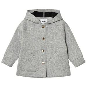 Moschino Kid-Teen Girls Coats and jackets Grey Grey Neoprene Heart Print Hooded Jacket