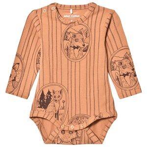 Mini Rodini Unisex All in ones Brown Fox Family Baby Body Brown