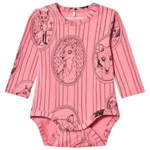 Image of Mini Rodini Girls All in ones Pink Fox Family Baby Body Pink