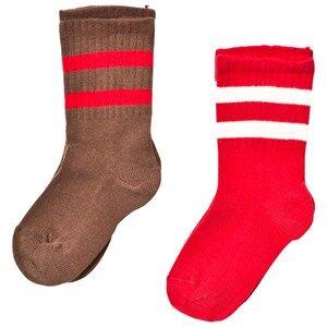 Mini Rodini Unisex Underwear Brown 2 Pack Stripe Sock Brown/Red