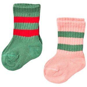Mini Rodini Unisex Underwear Pink 2 Pack Stripe Sock Pink/Green