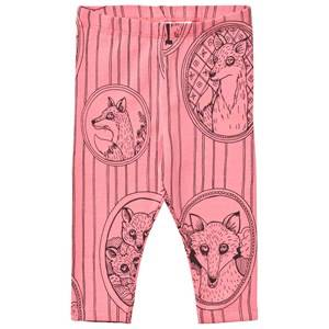 Mini Rodini Girls Bottoms Pink Fox Family Leggings Pink