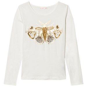 Billieblush Girls Tops White Ivory Beaded Moth Tee