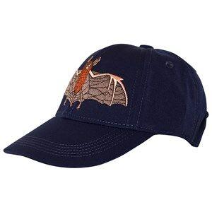Mini Rodini Unisex Headwear Blue Bat Embroidered Cap Navy