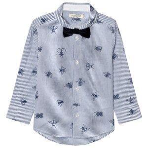 Billybandit Boys 1 Tops Blue Bee Print Bow Tie Shirt