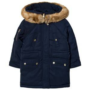 Image of Chloé Girls Coats and jackets Navy Navy Padded Parka Faux Fur Hood