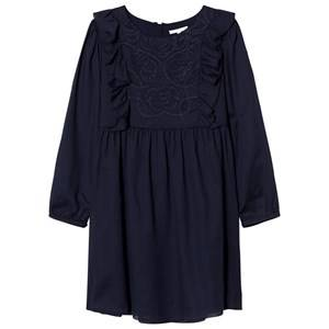 Image of Chloé Girls Dresses Navy Navy Embroidered Crepe Dress