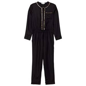 Image of Chloé Girls All in ones Black Black/Gold Twill Embroidered Jumpsuit