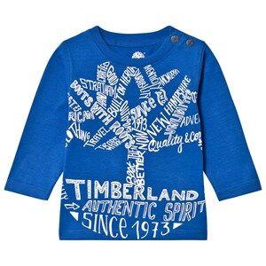 Timberland Boys Tops Blue Royal Blue Script Logo Tee