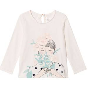 Carrément Beau Girls Tops Cream Girl Flowers Print Tee Cream