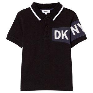 DKNY Boys Tops Black Black and Blue Branded Pique Polo